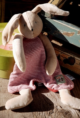 "Moulin Roty 16"" Sylvain the Rabbit Lovey Buddy Blanket"