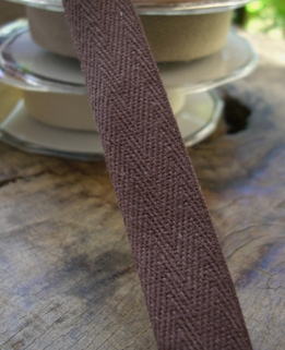 "Natural Cotton Brown Twill Ribbon 3/4"" wide 9 yards"