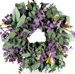 "Natural Eucalyptus Preserved Sage & Lavender 17"" Wreath"