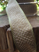"Natural Weave Green & Beige Wired Ribbon 1-1/2"" width 9 yds"