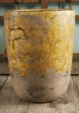 Old World Golden Ceramic Pot