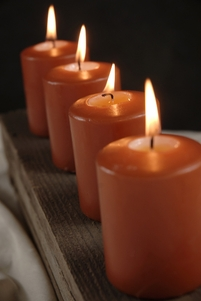 "Orange Burnt Sienna 3"" x 2-1/4"" Candles Unscented 25 hr. burn (4 candles)"