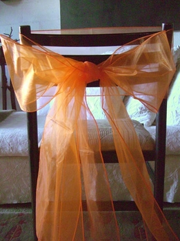 Orange Organza Chair Bows (Pack of 10)