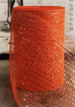 "Orange Sparkle Mesh 7"" wide x 60 Feet"