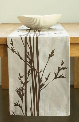 "Organic Hemp & Cotton 90"" Table Runners -Cove Grey & Espresso"