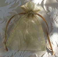 "Organza Drawstring Bags 3"" x 4"" Antique Gold (10 bags/pkg)"