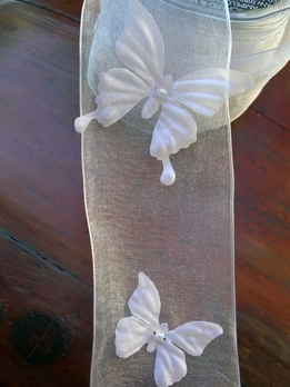 "Organza Ribbon  White Butterflies 2-3/4"" x 17 yards"