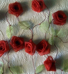 Organza Ribbon Rose Garland Red Rolled Roses 9 Feet