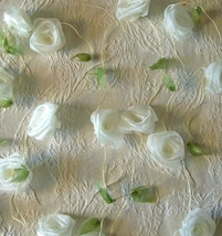 Organza Ribbon Rose Garlands Ivory Roses 9ft