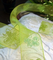 "Organza Wired Ribbon with Crystal  Butterfly 1 1/2"" wide"