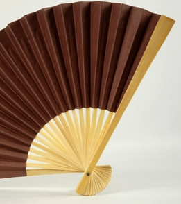 "Paper & Bamboo Folding Fans 9"" Chocolate Brown"