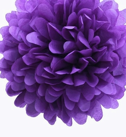 "Tissue Paper Pom Poms 20"" Purple (Pack of 4)"