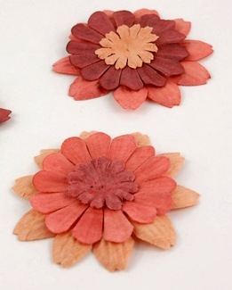 Paper Flowers Zinnia Orange Red (32 flowers/pkg )