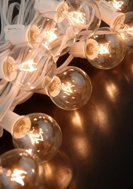 "Paper Lantern Lights (for 12"" -24"" lanterns) Clear Bulbs 10 Sockets (36"" spacing) White Cord (31.5')"
