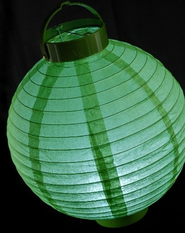 "Paper Lanterns 10"" Green LED Battery Operated"
