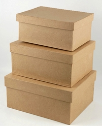 Paper Mache Boxes 8, 9 & 10 in. Rectangle