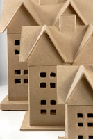 "Paper Mache (set of 3 Houses) House set (6"" - 8"" - 12.5"")"