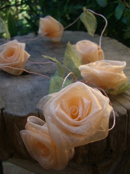 Peach Rolled Roses 9 ft Ribbon Garland