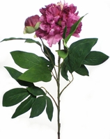 "Peonies Fuchsia Silk Flowers (flower 5"" wide) with bud"