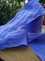 "Perwinkle Blue Satin Deco Moire Ribbon 3"" wide 27 feet"