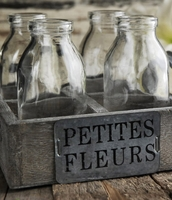Petite Fleurs Wood Crate Set with 4 Glass Bottles