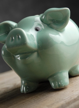 "Piggy Bank 5"" Mint Green Ceramic"