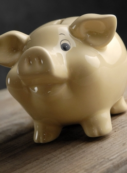"Piggy Banks 5"" Yellow Ceramic"