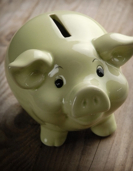"Piggy Banks 5"" Light Green Ceramic"