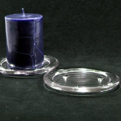 "Pillar Candleholder Glass Base 4"" Diameter"