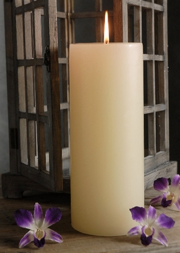 "Pillar Candles 4x 10"" Ivory Unscented Cotton Wicks"