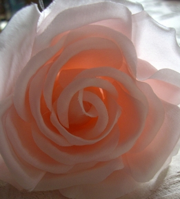 "Pink 4"" Fabric Rose with Salon Style Clip & Pin"