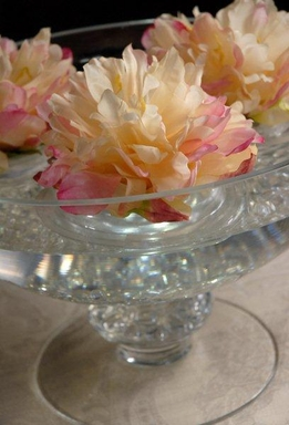 Pink and Cream Floating Silk Peony Flowers (Pack of 12)