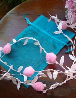 Pink Pom Pom Leaf Garland Wired Ribbon 11 yards