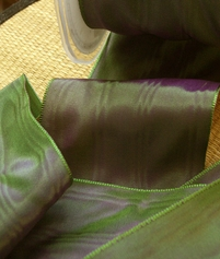 Plum & Peacock Green Satin Moire Ribbon 3 in. width 27 feet
