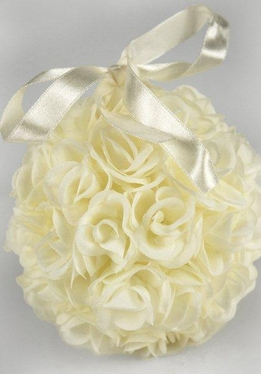 Pomanders 5 in. Cream Rose Silk Flower Balls