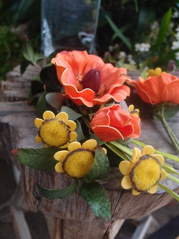 Poppy and Daisy Corsage