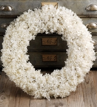 "Preserved White Hydrangeas 19"" Wedding Wreath"