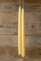 "Pure Beeswax 16"" (24 hr) Tapers pair (smokeless, no drip, hand dipped)"