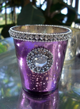 Purple Mercury Glass 3 in. Votive Holders