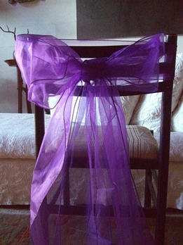 Organza Chair Bows in Purple | Pack of 10