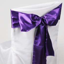 Purple Satin Chair Sashes (Pack of 10)