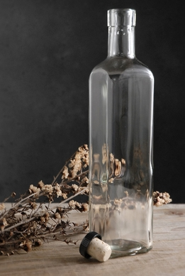 Glass Bottle with Cork Top 10.5in