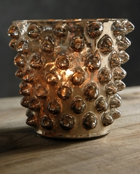 "Quantum Glass Bronze 4.5"" Candle Holders"