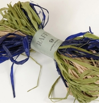 Raffia green, purple blue and natural raffia bundle