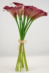 "Real Touch Calla Lily Dark Pink Clutch 14"" Bouquet (12 flowers)"