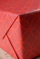 "Recycled Christmas Wrapping Paper RED Rings 30"" width 5 feet roll"