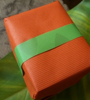 "Recycled Paper Gift Wrapping Paper Roll 30"" width x 5' Tangerine Stripes"