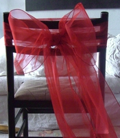 Red Organza Chair Sashes (Pack of 10)