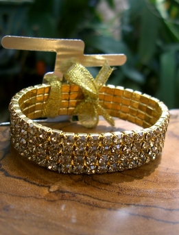 Rhinestone Corsage Bracelet Gold with Clear Stones