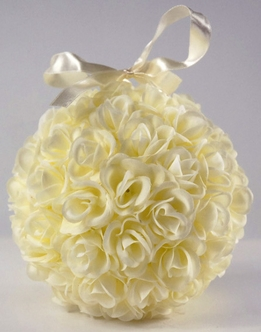 Rose Balls Cream Silk Roses 6in